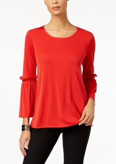 Alfani Rib-Knit Ruffled-Sleeve Top, Created for Macy's