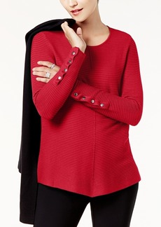 Alfani Ribbed Snap-Detail Sweater, Created for Macy's