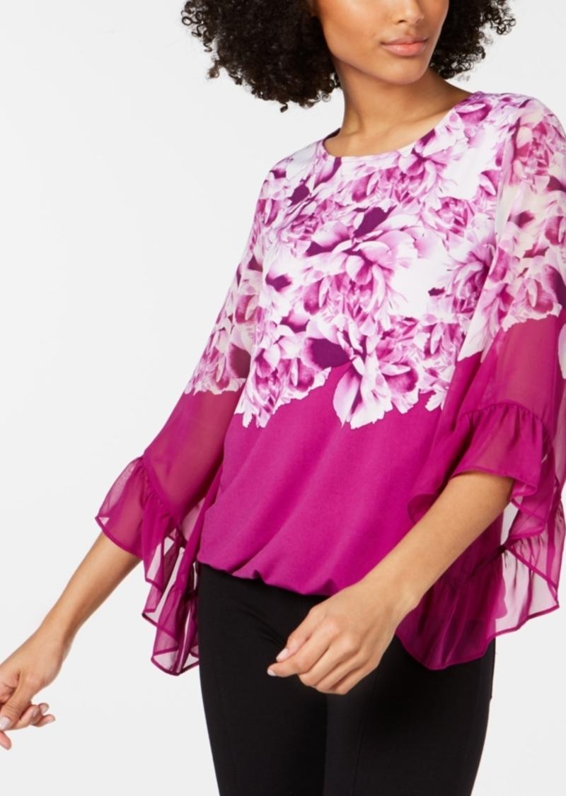 Alfani Ruffle-Sleeve Bubble Top, Created for Macy's