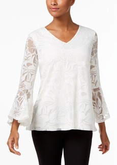 Alfani Ruffle-Sleeve Floral Burnout Top, Created for Macy's