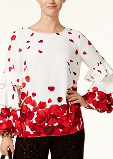 Alfani Ruffle-Sleeve Printed Top, Created for Macy's
