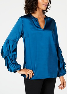 Alfani Ruffle-Sleeve Satin Top, Created for Macy's