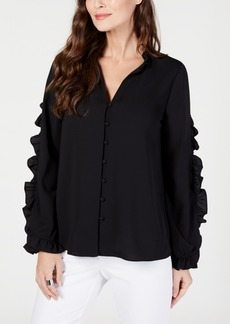 Alfani Ruffle Trim V-Neck Blouse, Created for Macy's
