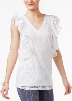 Alfani Ruffled Burnout Top, Created for Macy's