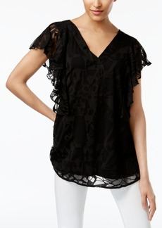 Alfani Ruffled Burnout Top, Created for Macy's