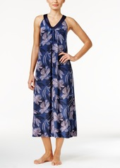Alfani Satin-Trimmed V-Neck Printed Knit Nightgown, Only at Macy's