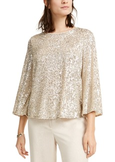 Alfani Sequined Bell-Sleeve Top, Created For Macy's