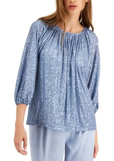 Alfani Sequined Ruched Neck Top, Created for Macy's