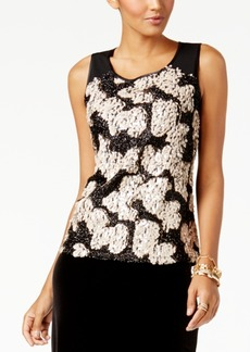 Alfani Petite Sequinned-Front Top, Created for Macy's