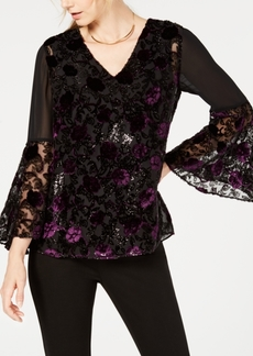 Alfani Velvet Burnout Bell-Sleeve Top, Created for Macy's