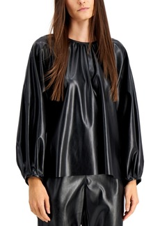 Alfani Shirred Faux Leather Top, Created for Macy's