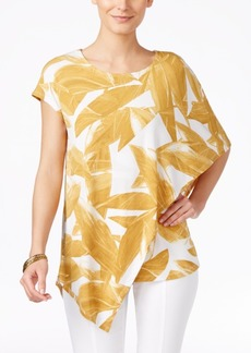 Alfani Petite Printed Asymmetrical Overlay Top, Only at Macy's