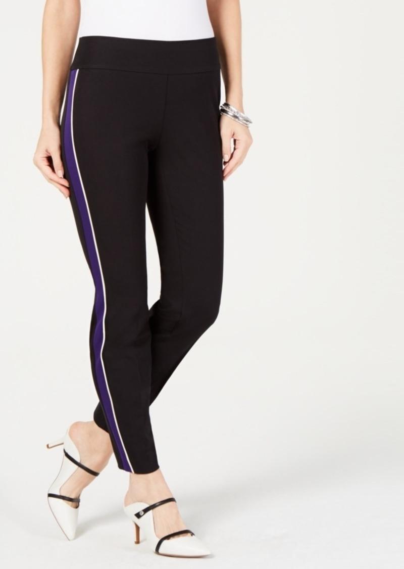Alfani Petite Side-Stripe Skinny Pants, Created for Macy's