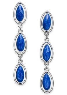 Alfani Silver-Tone Blue Stone Linear Earrings, Created for Macy's