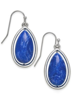 Alfani Silver-Tone Blue Stone Teardrop Earrings, Created for Macy's