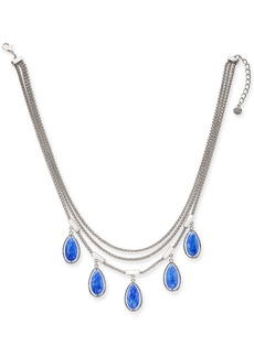 "Alfani Silver-Tone Blue Stone Three-Row Frontal Necklace, 18"" + 3"" extender, Created for Macy's"