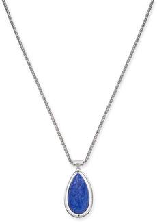 "Alfani Silver-Tone Blue Teardrop Pendant Necklace, 36"" + 3"" extender, Created for Macy's"