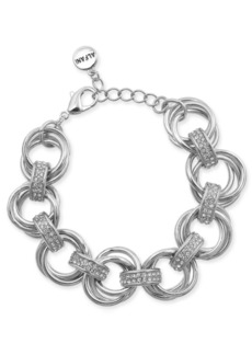 Alfani Silver-Tone Crystal Accent Multi-Hoop Link Bracelet, Created for Macy's
