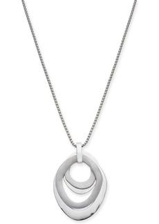 "Alfani Silver-Tone Multi-Ring Sculptural 34"" Pendant Necklace, Created for Macy's"