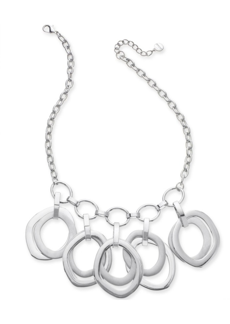 """Alfani Silver-Tone Multi-Ring Sculptural Statement Necklace, 17"""" + 2"""" extender, Created for Macy's"""