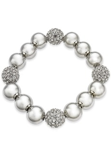Alfani Silver-Tone Pave Ball Stretch Bracelet, Created for Macy's