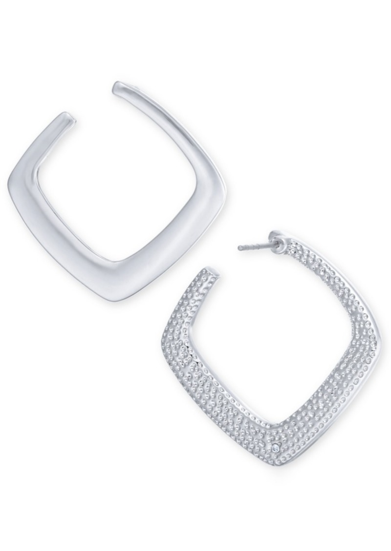 Alfani Silver-Tone Textured Front Square Hoop Earrings, Created For Macy's