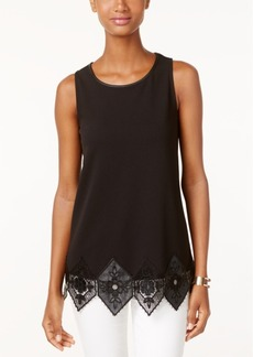 Alfani Sleeveless Faux-Leather Trim Top, Only at Macy's