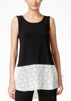Alfani Sleeveless Lace-Hem Top, Only at Macy's