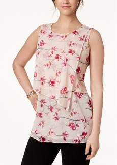 Alfani Petite Printed Tiered Asymmetrical Top, Created for Macy's