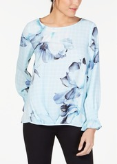 Alfani Smocked Floral-Print Top, Created for Macy's