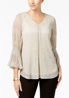 Alfani Petite Metallic Shirred-Sleeve Top, Created for Macy's
