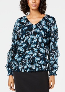 Alfani Smocked Ruffle-Sleeve Top, Created for Macy's