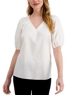 Alfani Smocked-Shoulder Top, Created for Macy's