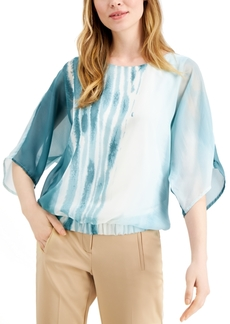 Alfani Smocked Tie-Dyed Top, Created for Macy's