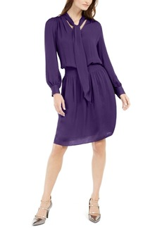Alfani Smocked Tie-Neck Dress, Created For Macy's