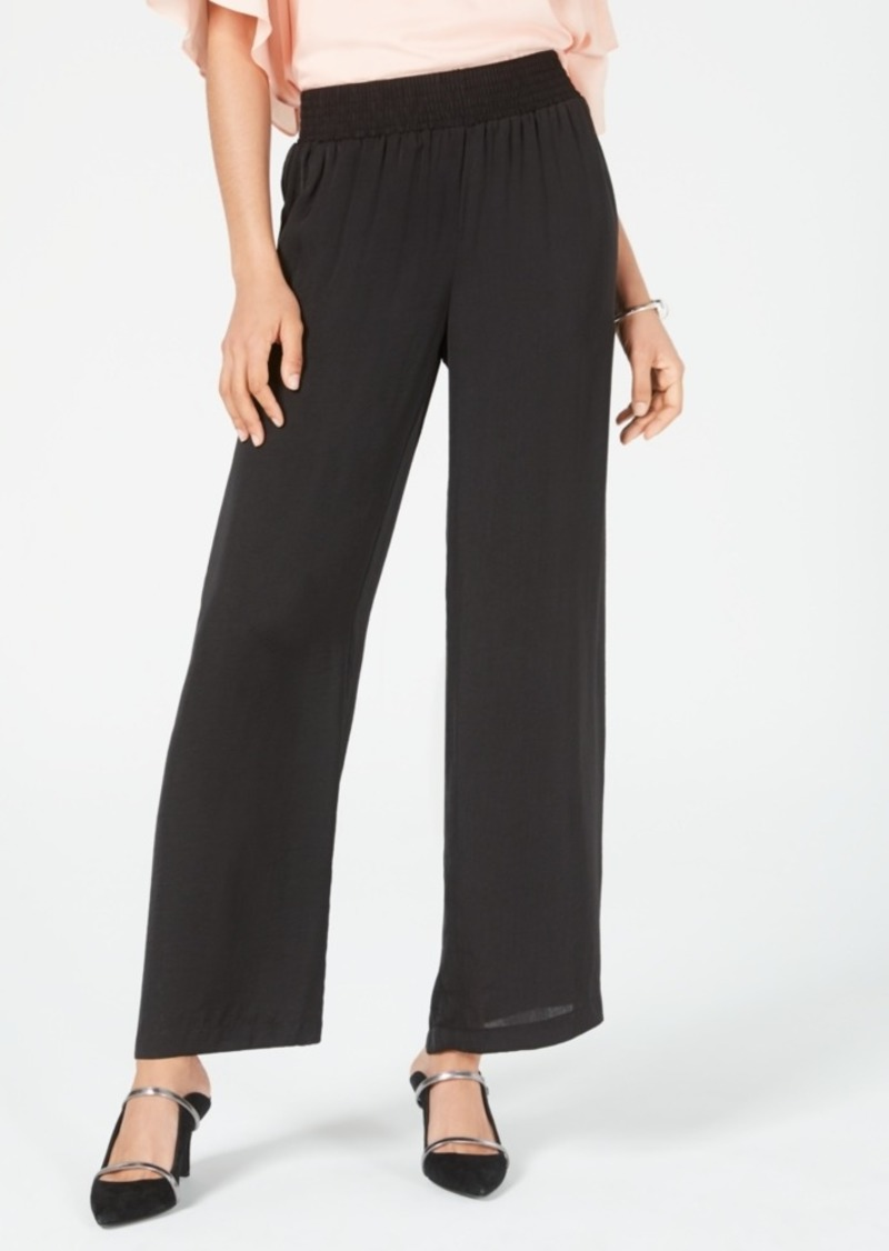Alfani Smocked-Waist Satin Pants, Created for Macy's