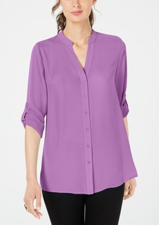 Alfani Split-Neck Button-Front Top, Created for Macy's