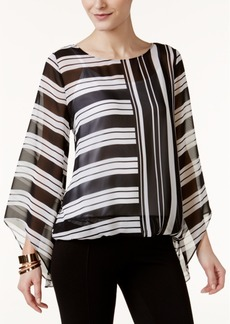 Alfani Striped Angel-Sleeve Top, Only at Macy's