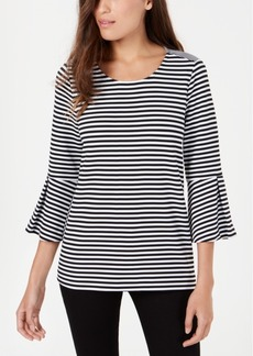 Alfani Striped Bell Sleeve Top, Created for Macy's
