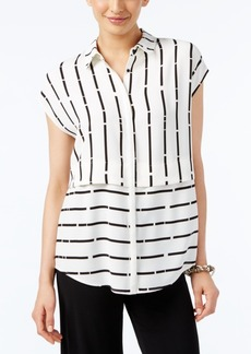 Alfani Striped Button-Front Blouse, Only at Macy's