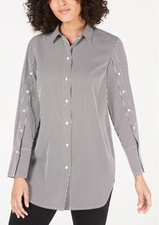 Alfani Striped Button-Sleeve Shirt, Created for Macy's