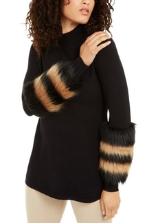 Alfani Striped Faux-Fur Cuff Sweater, Created for Macy's