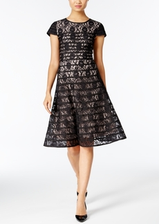 Alfani Striped Lace Fit & Flare Dress, Only at Macy's