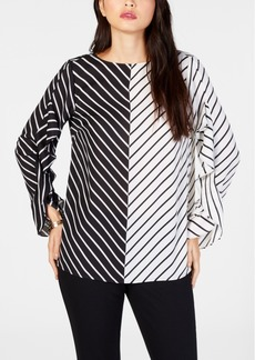 Alfani Striped Ruffle-Sleeve Top, Created for Macy's