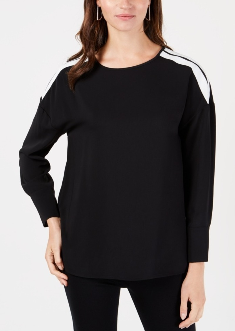 Alfani Striped-Shoulder Top, Created for Macy's