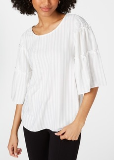 Alfani Striped Tiered-Sleeve Blouse, Created for Macy's