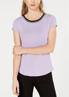 Alfani Striped-Trim T-Shirt, Created for Macy's