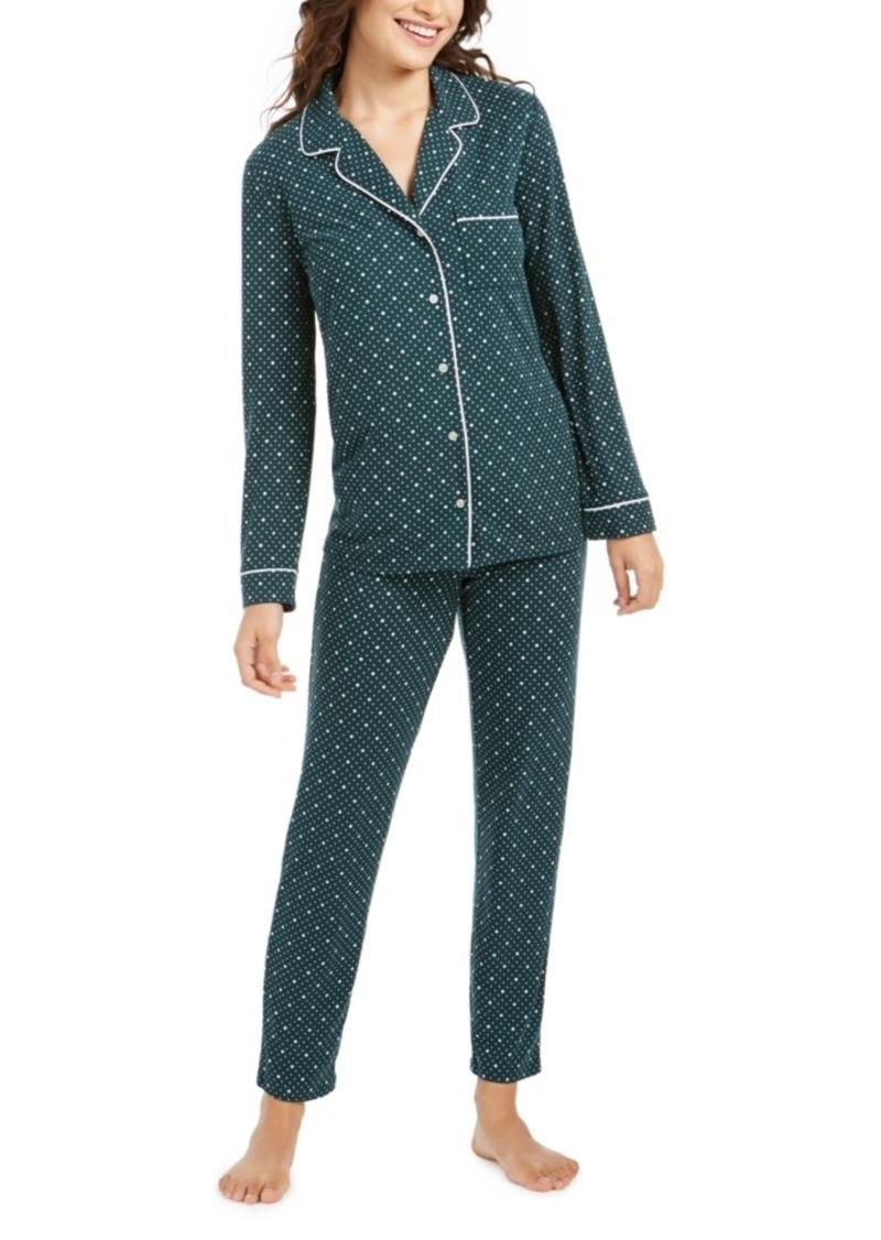 Alfani Super Soft Printed Long-Sleeve Top & Pajama Pants Set, Created for Macy's