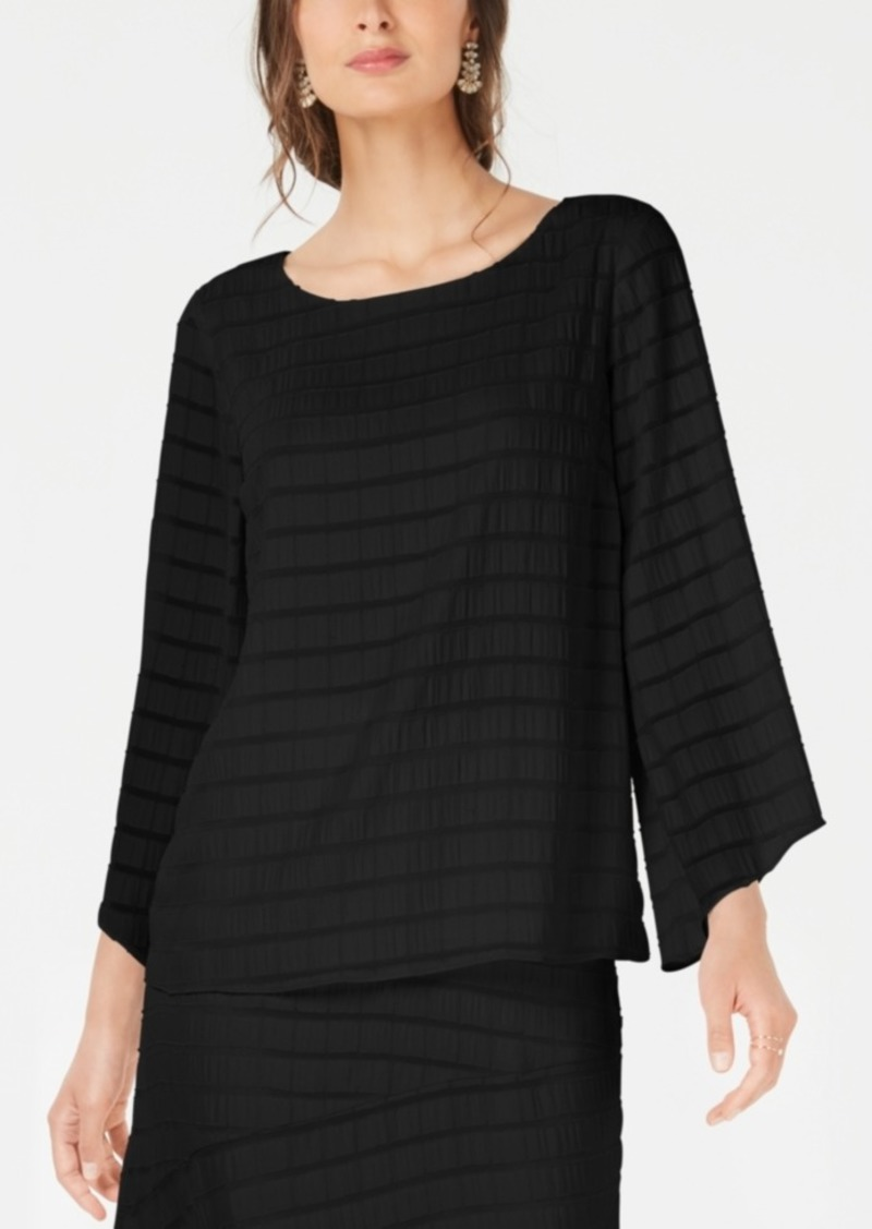 Alfani Textured Bracelet-Sleeve Top, Created for Macy's