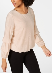 Alfani Textured Bubble-Sleeve Top, Created for Macy's